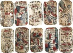 """Spanish playing cards, woodcut & stencil, Seville, dated 1638 on the Ace of Cups. The Ace of Batons and the Two of Cups have small naked figures adorning the suit symbols. The Ace of Coins has a two-headed imperial eagle. Inscriptions on the cards read: """"En S (en Sevilla) Con Licencia del Rey."""" These cards were discovered inside a wall during the demolishing of the former Granada prison, and were probably handled by gambling card players running a racket inside jail. Image of cards in the…"""