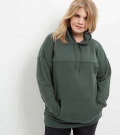 Curves Green Oversized Seam Hoody | New Look
