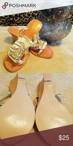 Chinese laundry Sandles Like new. Never worn only around house. Has a slight wedge. So cute. Chinese Laundry Shoes Sandals