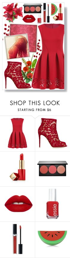 """""""Roses Are Red..."""" by angelstylee ❤ liked on Polyvore featuring Dolce&Gabbana, Estée Lauder, Smashbox, Lime Crime, Essie, Christian Dior, Topshop, red, are and roses"""