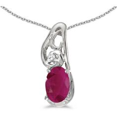 14k White Gold Oval Ruby And Diamond Pendant (Chain NOT included)... (2,535 EGP) ❤ liked on Polyvore featuring jewelry, pendants, white gold pendant, oval diamond pendant, chain jewelry, charm pendants and 14k diamond pendant