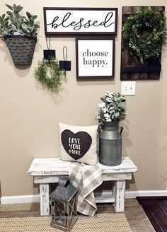 Awesome blesssed sign, choose happy, farmhouse, storage, rustic, modern, home decor, entry way, blanket, diy decor, entry way, pillows, bench, flowers, rustic pot, silver, gold, grays, ..