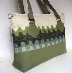 Green and Off White Geometric Print Handbag Shoudler Bag