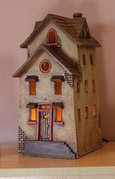 miniature illuminated clay house ceramic lamp home decor handmade art Clay Houses, Ceramic Houses, Miniature Houses, Ceramic Clay, Cardboard Houses, Miniature Dolls, Doll Houses, Hand Built Pottery, Slab Pottery