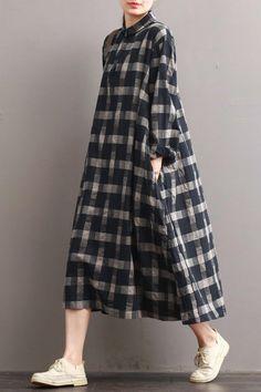 Linen Plaid Casual Loose Shirt Dress,Winter Long Shirt for Women – Fantasy… – Linen Dresses For Women Linen Dresses, Women's Dresses, Dress Outfits, Casual Outfits, Fashion Outfits, Dress Casual, Hijab Fashion, Fall Fashion, Dress Clothes