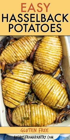 These golden and really easy Hasselback Potatoes are the perfect side dish or delicious main meal. Crispy yet fluffy creamy sliced baked potatoes topped off with a seasoned oil and fresh herbs with a southern creole taste. You can also make Air Fryer Hasselback potatoes. Serve as is or make loaded hasselback potatoes for the ultimate comfort food! #potatoes #hasselbackpotatoes #hasselbackpotatoes #potatorecipes #airfryer #airfried #sidedish #comfortfood #loadedpotatoes #southern #creole… Easy Potluck Recipes, Healthy Potluck, Air Fryer Dinner Recipes, Healthy Comfort Food, Side Dish Recipes, Appetizer Recipes, Summer Recipes, Delicious Recipes, Vegan Recipes
