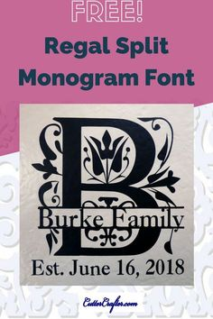 Free Split Monogram Font for vinyl DIY tile craft projects. Free TTF works with all cutter software to cut on Cricut Silhouette Pazzles KNK ScanNCut etc. Cricut Monogram, Free Monogram, Cricut Fonts, Cricut Vinyl, Monogram Letters, Cricut Air, Monogram Design, Monogram Styles, Diy Vinyl Projects