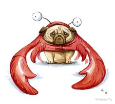 Lobster Pug by Vivienne To