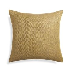 Menswear-inspired pillow tweaks tradition in a large herringbone weave of taupe and yellow in unexpected linen.  Pillow reverses to yellow herringbone. 100% linenOn-seam zipperDry clean onlyCover made in IndiaDown-alternative insert: 100% polyester fill (made in China)Feather insert: 100% duck feather (made in USA of imported materials)Made in multiple countries.