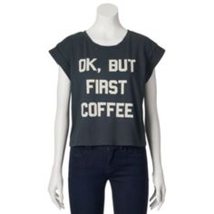 """Recycled+Karma+""""OK,+But+First+Coffee""""+Crop+Top+-+Juniors"""