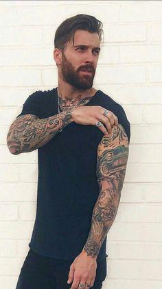 Bald Men With Beards, Black Men Beards, Bald With Beard, Hot Guys Beard, Bearded Tattooed Men, Bearded Men, Tattooed Guys, Bearded Dragon, Inked Men