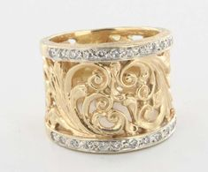 Vintage 14 Karat Yellow Gold Diamond Scrolled Foliate Wide Band ...