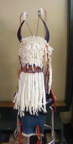 Split horn ermine skin headdress, back view, unknown maker