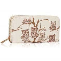 Peňaženka na zips s kamienkami Sova, ivory 15889