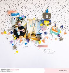 Happy B Day Layout (SBW Febr. Sketch 2019) | Crate Paper Hooray | Ulrike Dold Crate Paper, Pocket Letters, Happy B Day, Happy Mail, Scrapbook Paper Crafts, Scrapbooking Layouts, Paper Cutting, Crates, Card Making