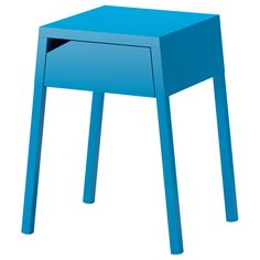 ikea selje nightstand- opening in the back and in the drawer to plug in your phone and such!