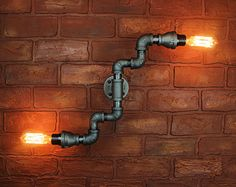 Pipe Lighting / Wall Art, Steampunk & Industrial, Wall light edison bulb - Unique Wall sconce light fixture, industiral black pipe light