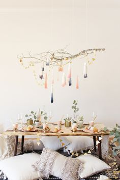 diy dip dye tassel chandelier looks perfect with simple tablescape with eclectic boho feel - love the delicate, ethereal look