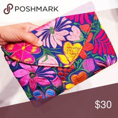 """Embroidered Oversized Clutch Bag Envelope Style Gorgeous colors! Oversized Clutch Bag Envelope style, zippered, fully lined, floral embroidery very colorful! Unique One-of-a-Kind design exclusively made for Cielito Lindo Mexican Boutique. 6.75"""" x 10.5"""" perfect gift for yourself or your loved ones! ❤️ Cielito Lindo  Bags Clutches & Wristlets"""
