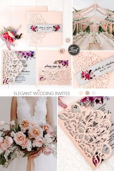 pink laser cut wedding invitations with pink and purple floral invitation on vellum paper Elegant Wedding Colors, Blush Wedding Colors, Blush Pink Weddings, Traditional Wedding Invitations, Laser Cut Wedding Invitations, Wedding Cards, Diy Wedding, Wedding Ideas, Vellum Paper
