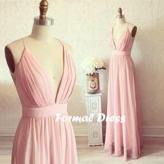 Pink dresses,V-neck long prom dress,simple A-line chiffon dresses,formal dress