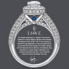 Something Vera, Something Blue. Fell in love with this ring when I saw it. We had to pick a different because we got screwed by another jewelry store. I was heart broken. But I found this one and want it so bad. Would love to win this ring or a gift card for this ring!