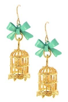 Jami Rodriguez  Teal Bow Birdcage Earrings