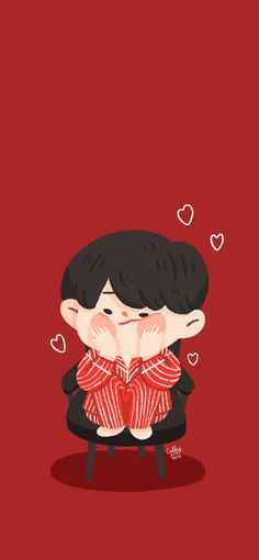 Illustration Art Drawing, Character Illustration, Aesthetic Iphone Wallpaper, Aesthetic Wallpapers, Bear Wallpaper, Kpop Fanart, Stickers, Cute Drawings, Cute Wallpapers