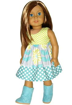 Aqua and soft lime Boho chic dress for American Girl doll
