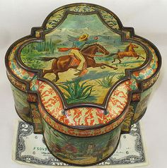 HUNTLEY & PALMER MEXICAN RARE BRITISH BISCUIT TIN c1895