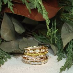 On the fifth day of Christams give your true love 5 gold rings from @henridaussi! #fivegoldenrings #henridaussi #diamonds #giftsforher #mccaskillandcompany #ringbling