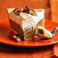 Pumpkin Mascarpone Pie with Candied Pecans