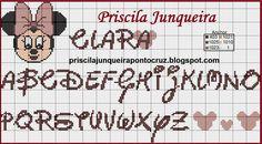 Monograma minnie - Priscila Junqueira - ponto cruz