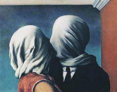 """""""L'amour, tu sais, ce dont il a le plus besoin, c'est l'imagination. Il faut que chacun invente l'autre avec toute son imagination, avec toutes ses forces et qu'il ne cède pas un pouce de terrain à la réalité ; alors là, lorsque deux imaginations se rencontrent… Il n'y a rien de plus beau ! """" Romain Gary, Les enchanteurs, 1973 . Image : René Magritte, Les Amants, 1928, huile sur toile, 54 x 73 cm, MOMA, New York"""
