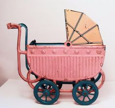 ~~Vintage German Tin Pink & Blue Doll Carriage~~ #GesGesch