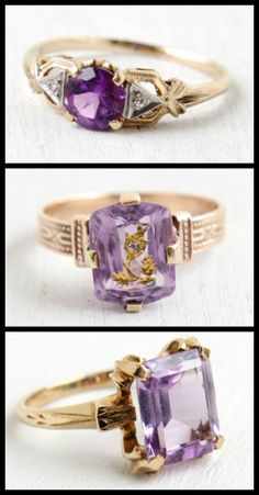 Three beautiful antique amethyst and diamond rings at Maejean Vintage.