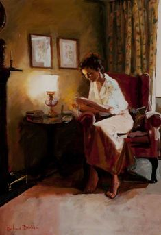 Lady Reading a Book by Lamplight    Rowland Davidson (b.1942)