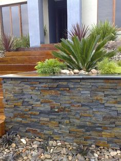 retaining walls - Love this stone!