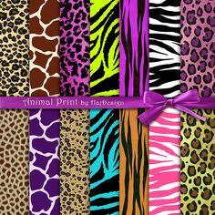 Animal Print Animal Pattern Digital Paper Pack Scrapbook Decoupage Digital Paper Animal Texture 14 Papers