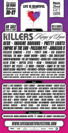 Life is Beautiful Festival 2013 Lineup Including The Killers, Kings Of Leon, Beck in Las Vegas