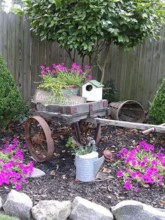 country garden, love turning old things into planters.