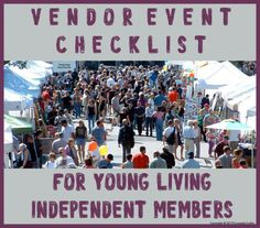 Vendor Event Check list exclusively for Young Living Independent Members