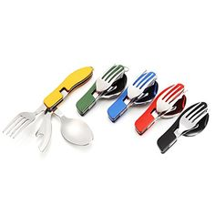 Camping & Hiking Flight Tracker Outdoor Picnic Tableware Stainless Steel Folding Fork And Spoon Tab Utensilios De Cocina Outdoor Portable Outdoor Camping Picnic