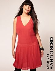 ASOS Curve Exclusive Dress With Pleated Drop Waist