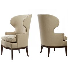 Edward Wormley Early Wing Chairs | From a unique collection of antique and modern wingback chairs at https://www.1stdibs.com/furniture/seating/wingback-chairs/