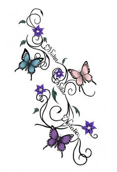 Butterflies tattoo sketch. By: Waktattoos.com I LIKE THIS IDEA BUT I WOULD USE MY SISTERS NAMES IN BETWEEN