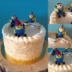 Toasted coconut minion cake