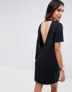 ASOS Open Back T-Shirt Dress with V Back - Black