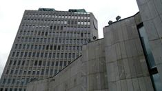 Huge brutalist complex. In Republic Square, Ljubljana, Slovenia.