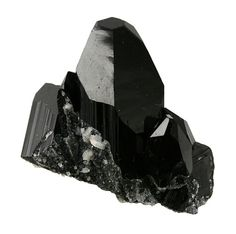 Schorl ( Black Tourmaline ) - An obsidian black variety of tourmaline. Found in twinned crystals that are occasionally of massive weights in the thousands of carats. Minerals And Gemstones, Crystals Minerals, Rocks And Minerals, Black Crystals, Stones And Crystals, Gem Stones, Rough Diamond, Black Diamond, Tourmaline Jewelry